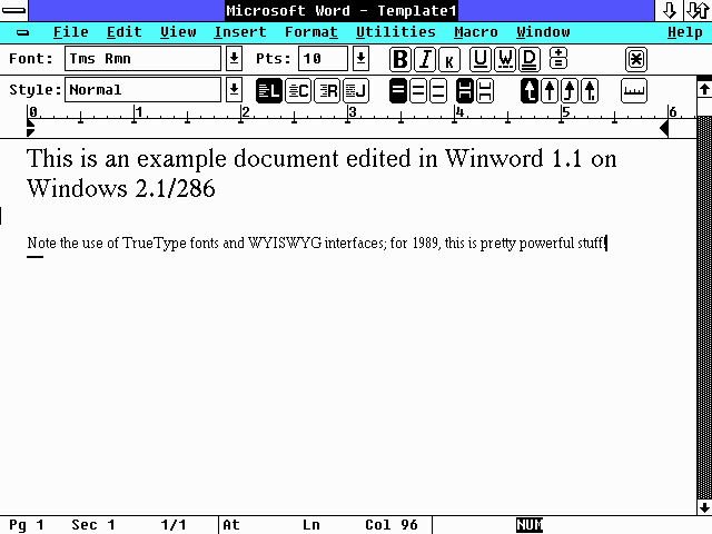 Winword on Windows 2.1/286